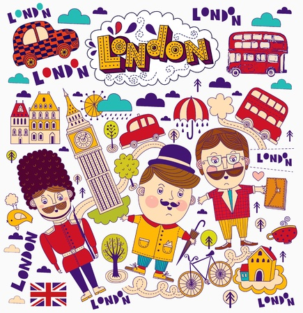 in english: Vector set of London symbols and landmarks