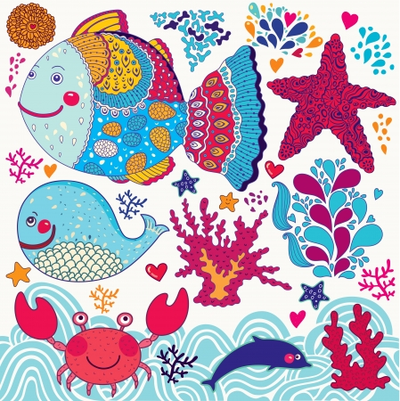 Vector cartoon funny fishes  Underwater life  Illustration