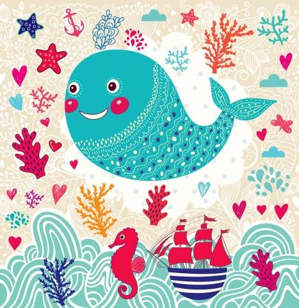 海洋卡通插圖,有趣的鯨魚 向量圖像