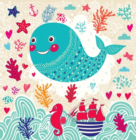 cartoon marine illustration with funny whale 向量圖像