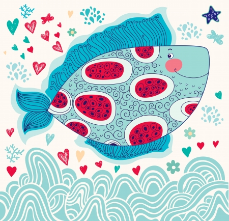Vector cartoon marine illustration with fish