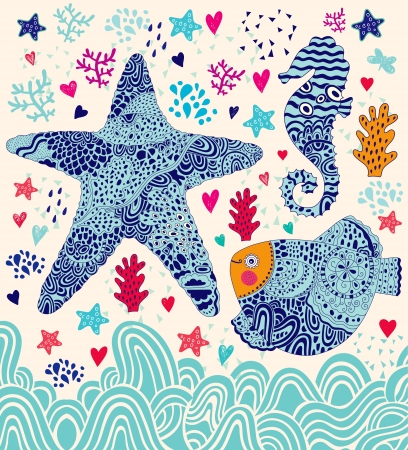 marine illustration with fish, sea star and seahorse Vector