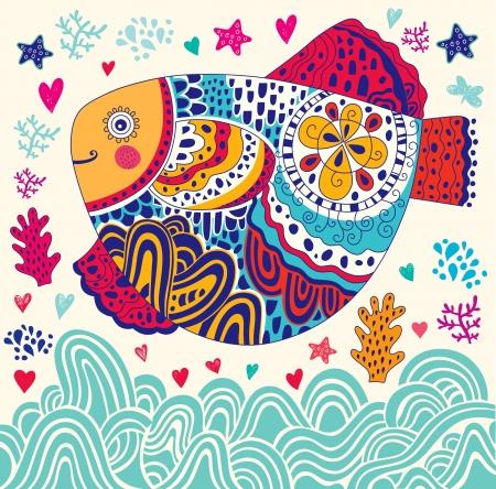 Мультфильм иллюстрация с морской рыбой