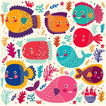 カラフルな様式化された面白い魚の美しいセット