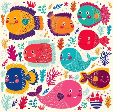 gyönyörű készlet, színes stilizált vicces halak Illusztráció