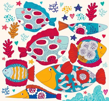sea mammal: Vector cartoon funny fishes  Sea life