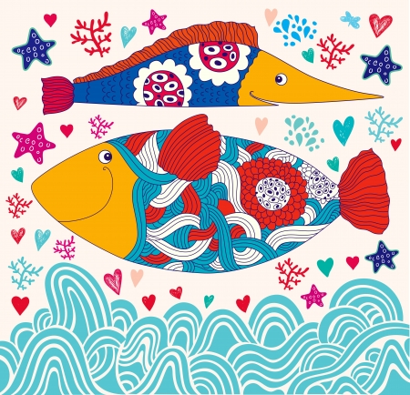 cartoon funny fishes  Sea life Vector