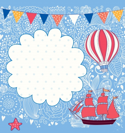 Holiday card with sail boat and balloon Vector