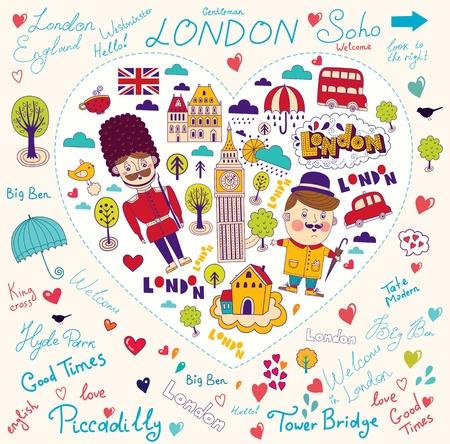 creative set with modern stylized London symbols and landmarks