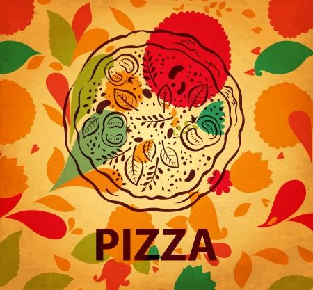 pizza box: Pizza design menu Illustration