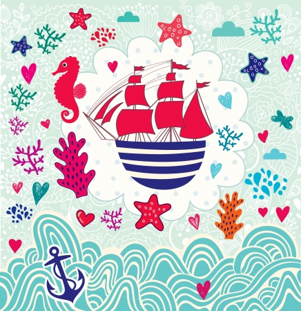 Vector cartoon marine illustration with sail ship Ilustração