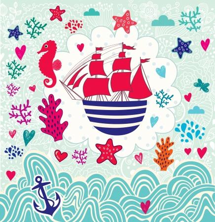 Vector de dibujos animados ilustración mar con el barco de vela