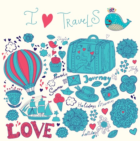 Summer illustration with symbols of travel Vector