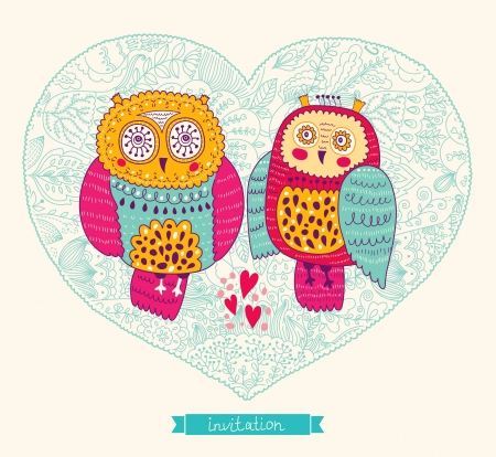 Vector wedding invitation with cute owls Vector