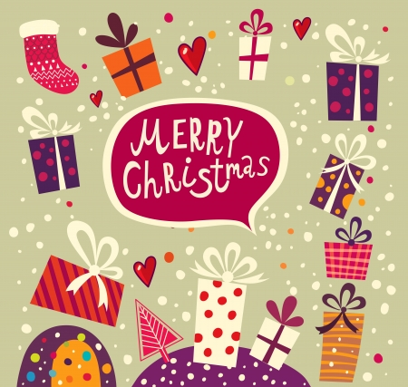 復古聖誕賀卡與禮品盒 向量圖像