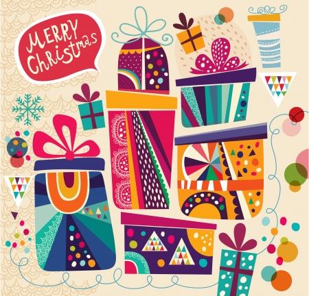 Kerstkaart met geschenk dozen Stock Illustratie