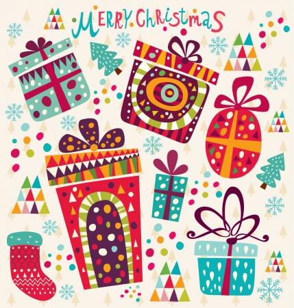 Cartão de Natal com caixas de presente Ilustração