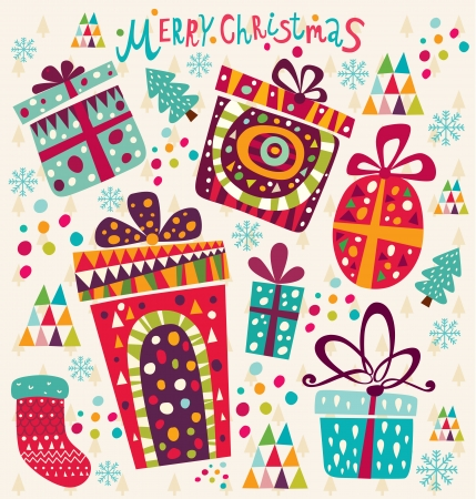 x mas card: Christmas card with gift boxes