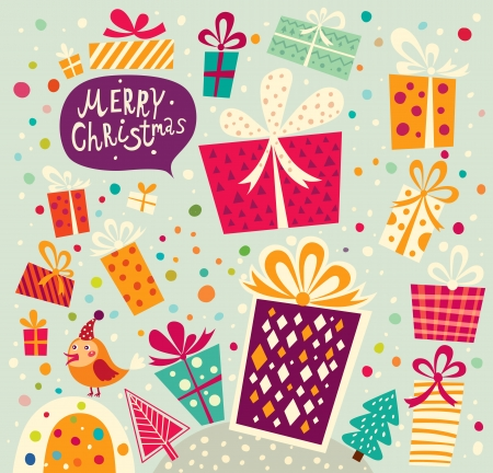 x mas background: Christmas card with gift boxes