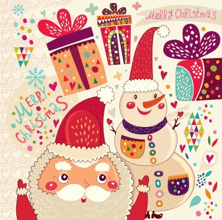 Cartoon funny Santa Claus with presents and friend Vector