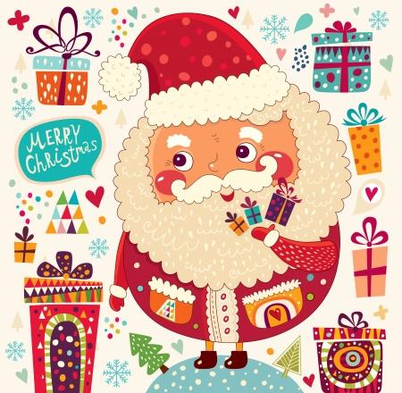 Мультфильм смешной Дед Мороз с подарками Иллюстрация