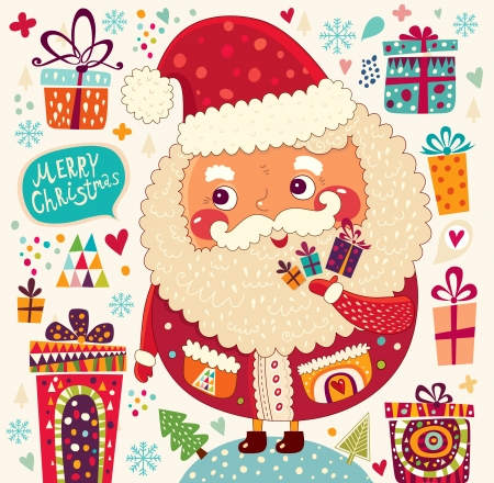 Cartoon funny Santa Claus with presents Stok Fotoğraf - 22785124