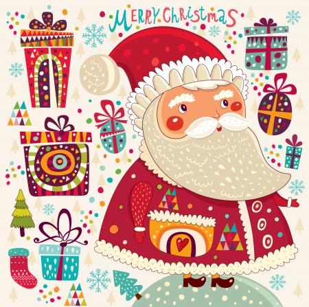 Cartoon funny Santa Claus with presents Vector
