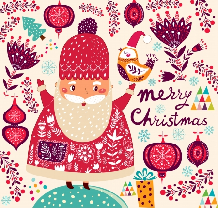 Cartoon funny Santa Claus Vector
