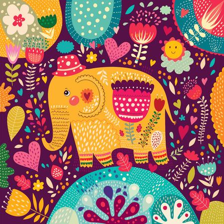 カラフルなパターンを持つ美しい象