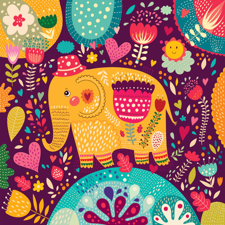 Beautiful elephant with colorful pattern  Vector
