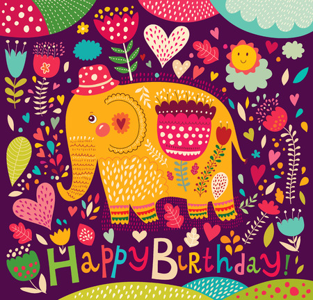 Happy Birthday card with elephant Vector