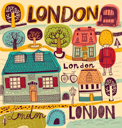 illustration with London symbols in color Vector