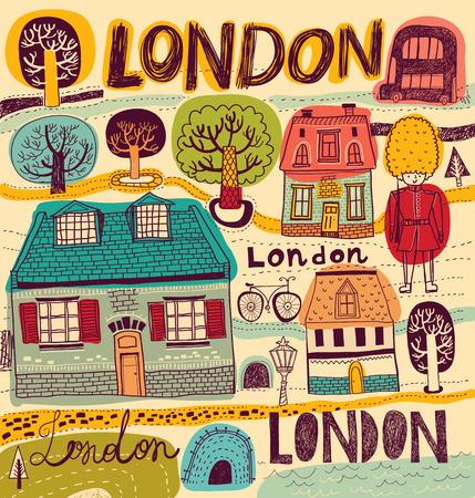 london night: illustration with London symbols in color Illustration