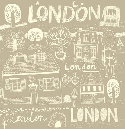 illustration with London symbols Vector