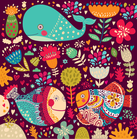 Pattern with marine life  Illustration