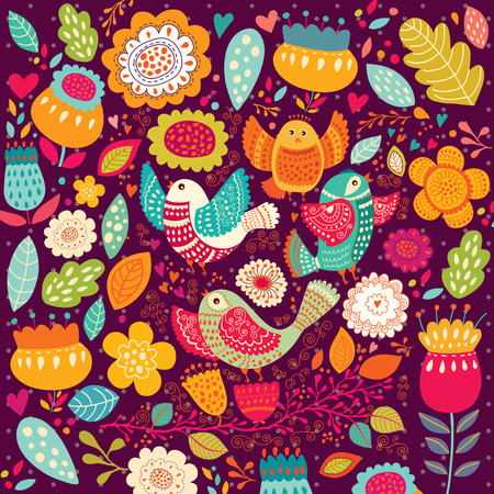 美しい鳥や花のパターン  イラスト・ベクター素材