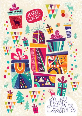 Kerstmisprentbriefkaar met geschenkdozen Stock Illustratie