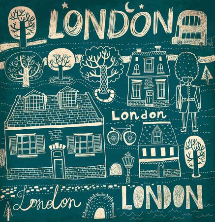 london night: Vector sketches of London streets. Night London