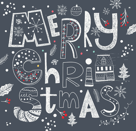 Merry Christmas vector illustration. Holiday greeting card Vector