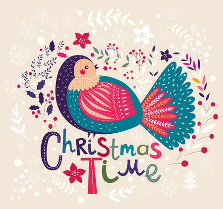 Christmas vector illustration with bird. Holiday greeting card Vector