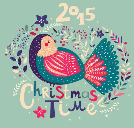 bird drawing: Christmas vector illustration with bird. Holiday greeting card