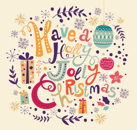 Vector illustration with Christmas decorations . Holiday greeting card Vector