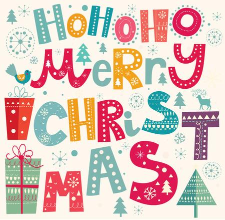 merry christmas text: Ilustraci�n vectorial Navidad con el texto de la Feliz Navidad Vectores