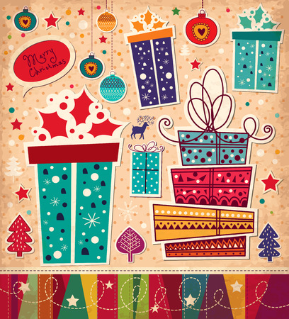 x mas parties: Christmas card with gift boxes