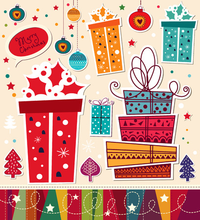 x mas parties: Christmas card with gifts