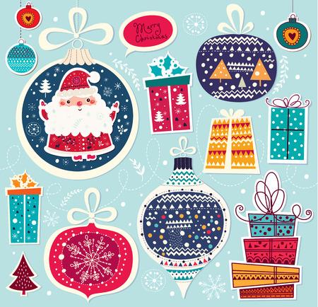 Ilustración vectorial Navidad con Santa Claus y regalos Foto de archivo - 33567168