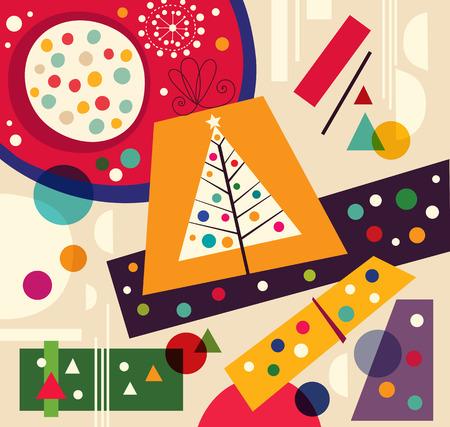 x mas parties: Christmas vector illustration with Christmas Tree and gifts Illustration