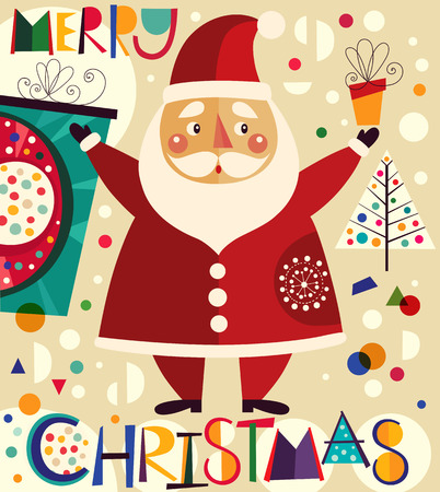 santa claus background: Christmas vector illustration with Santa Claus