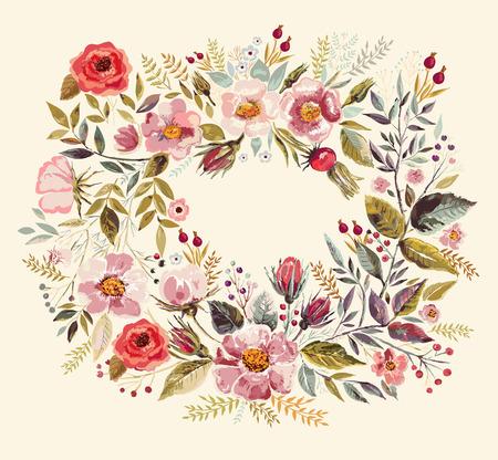 Fondo de la vendimia con la mano dibujada ofrenda floral Vectores