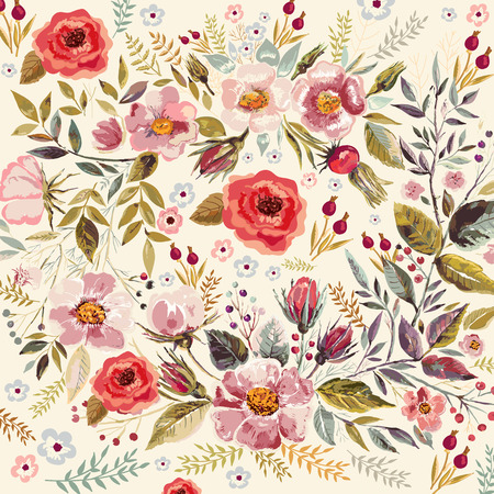 vintage pattern background: Hand drawn floral romantic background with beautiful flowers and leaves Illustration
